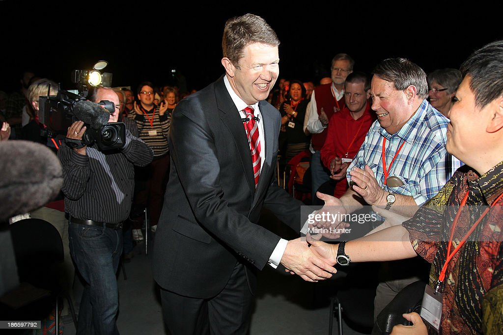 Labour Party Leader David Cunliffe is welcomed to the Labour Party National Conference on November 2, 2013 in Christchurch, New Zealand. The 97th Labour Party Annual Conference runs from 1 - 3 November 2013.