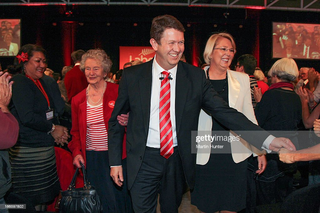 Labour Party Leader David Cunliffe with his mother (L) and wife Karen Price after his speech during the Labour Party National Conference on November 2, 2013 in Christchurch, New Zealand. The 97th Labour Party Annual Conference runs from 1 - 3 November 2013.