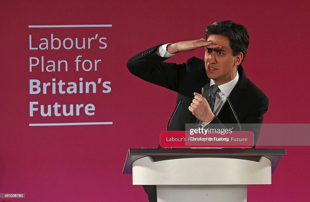 Labour party leader Ed Miliband addresses party activitists as he launches the party's 2015 election campaign at the Lowry Centre on January 5, 2015 in Salford, England. Miliband pledged that campaigners will talk to millions of voters and he will hold weekly public 'question-time' events across the country over the next four months in the lead up to the May 7th general election.