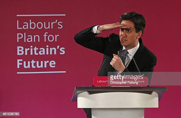 Labour party leader Ed Miliband addresses party activitists as he launches the party's 2015 election campaign at the Lowry Centre on January 5 2015...