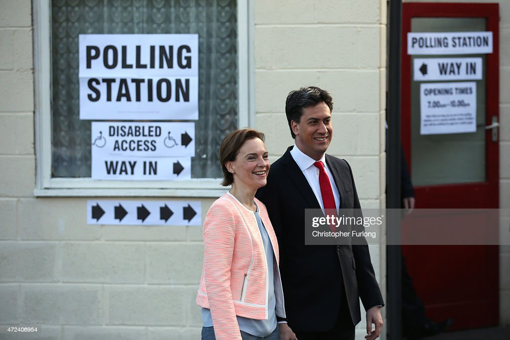 Leader Of The Labour Party, Ed Miliband, Casts His Vote As The UK Goes To The Polls : News Photo