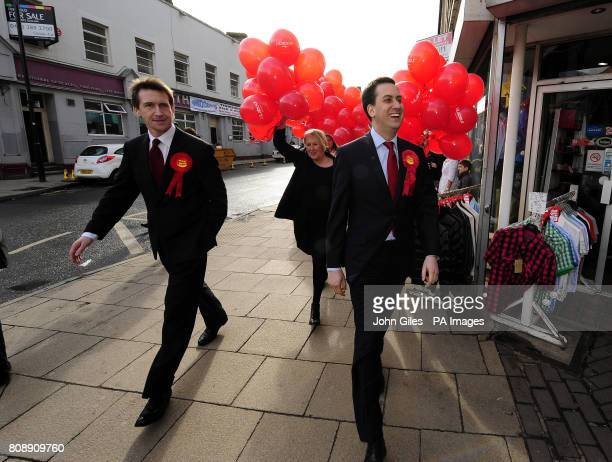 Labour Party leader Ed Miliband and Labour candidate Dan Jarvis in Barnsley town centre today ahead of the by election in Barnsley next week