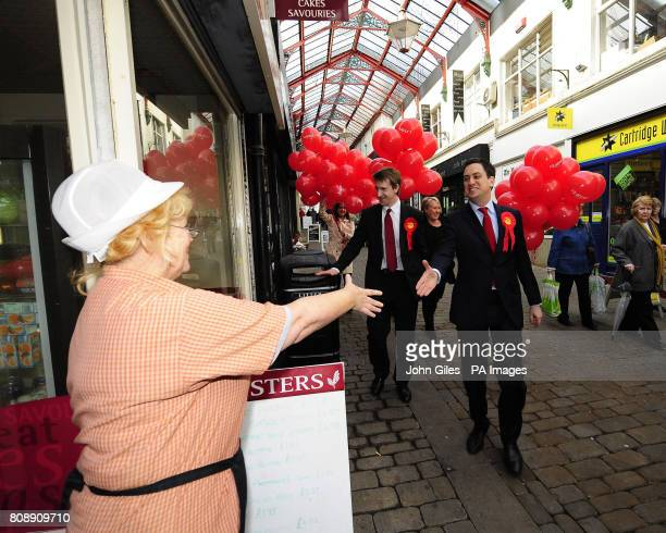 Labour Party leader Ed Miliband and Labour candidate Dan Jarvis meet with the public in Barnsley town centre today ahead of the by election in...