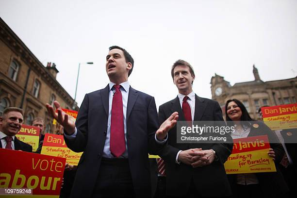 Labour party leader Ed Miliband and newly elected Barnsley MP Dan Jarvis talk to the people of Barnsley during a walkabout after last nights...