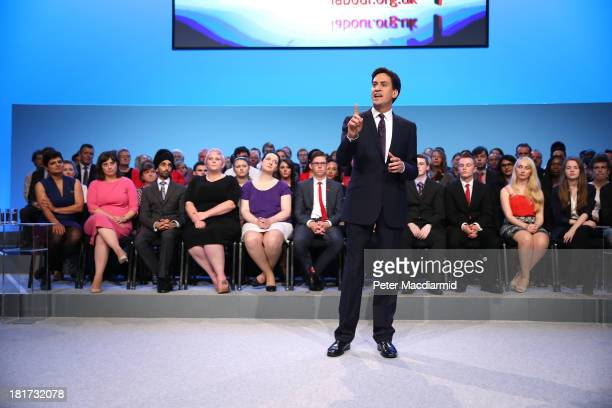 Labour party leader Ed Miliband delivers his keynote speech at the annual party conference on September 24 2013 in Brighton England The Labour leader...