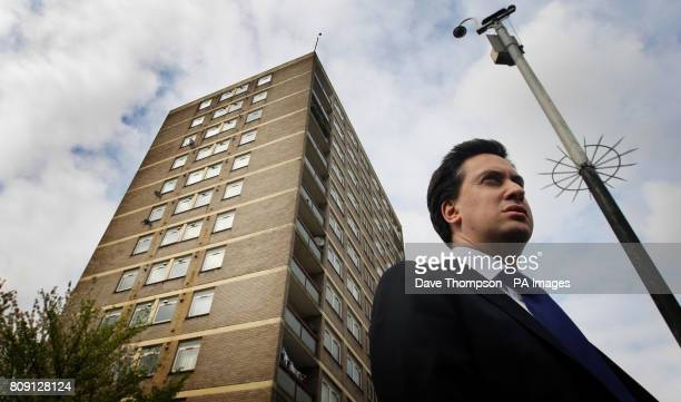 Labour Party Leader Ed Miliband during a visit to a council estate in the Collyhurst area of Manchester