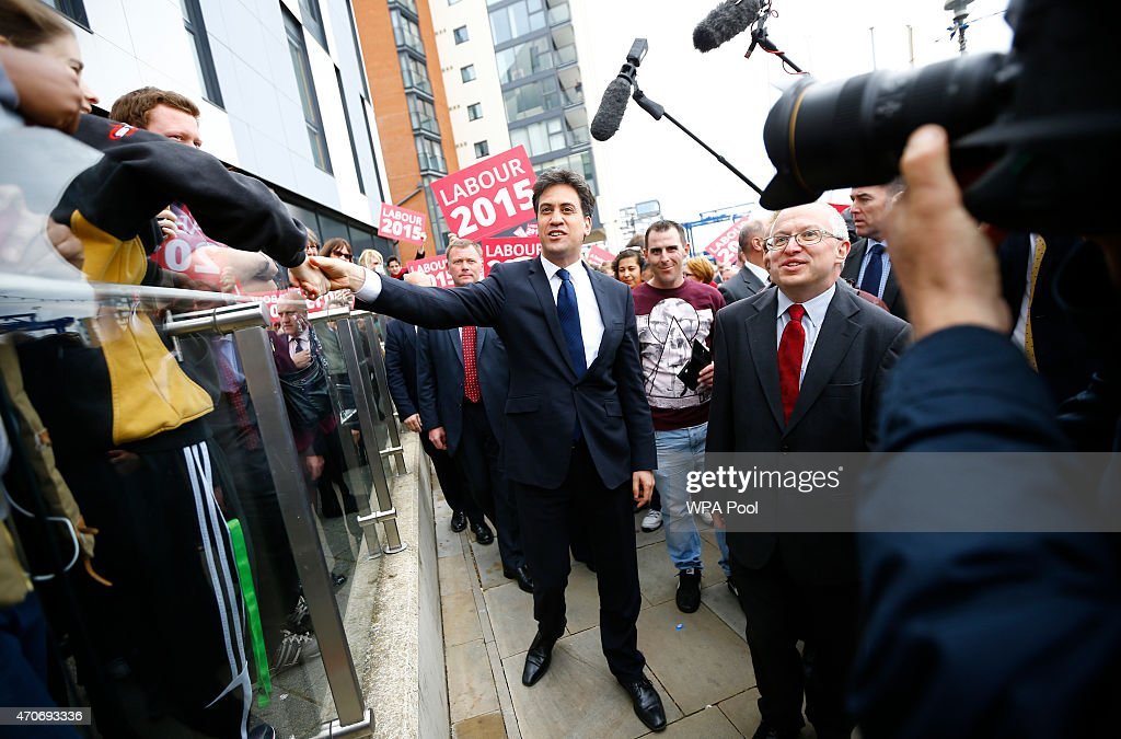 Ed Miliband Campaigns In Ipswich Ahead Of The General Election : News Photo