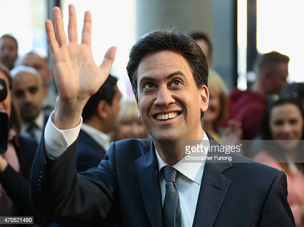 Labour Party leader Ed Miliband greets the audience before a speech on the Party's NHS rescue plan at the Brooks Building Manchester Metropolitan...