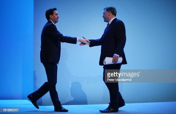 Labour Party leader Ed Miliband shaked hands with Shadow Chancellor Ed Balls after he addressed the Labour Party conference on September 23 2013 in...