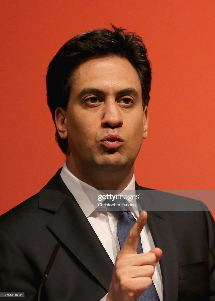 Labour party leader Ed Miliband speaks at a rally at Parr Hall on April 4, 2015 in Warrington, England. Ed Miliband announced a Labour plan to encourage banks to fund 125,000 new homes for first time-buyers in England if his party gain power.