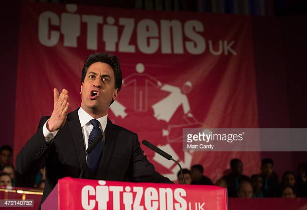 Labour party Leader Ed Miliband speaks at the Citizens UK event at Westminster Central Hall on May 4 2015 in London England Prime Minister David...