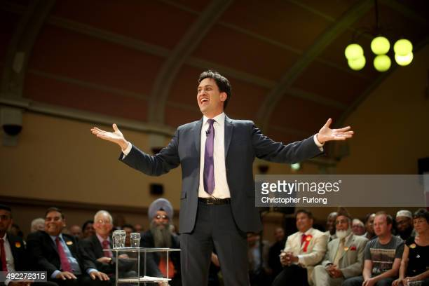 Labour Party Leader Ed Miliband speaks to supporters at Bloxwich Leisure Centre on May 19 2014 in Walsall England During his speech Mr Miliband said...