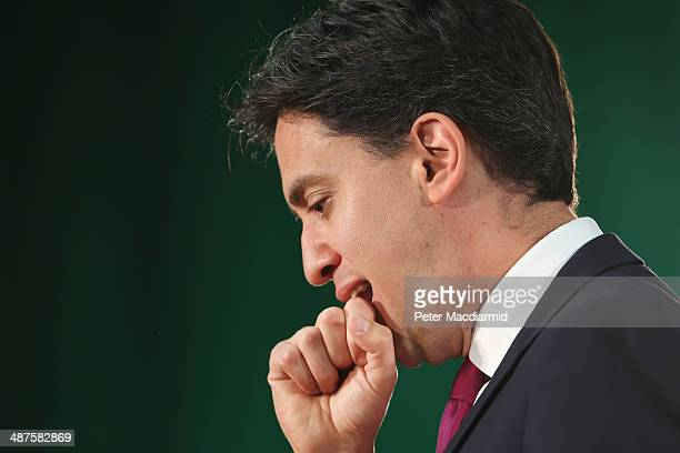 Labour Party Leader Ed Miliband speaks to supporters at Redbridge on May 1 2014 in London England During his speech Mr Miliband said that a future...