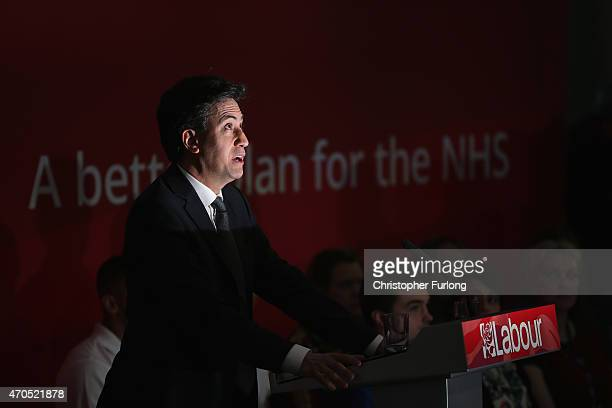 Labour Party leader Ed Miliband takes questions after a speech on the Party's NHS rescue plan at the Brooks Building Manchester Metropolitan...