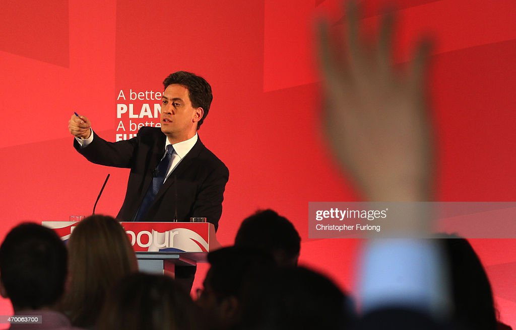 Labour Party leader Ed Miliband takes questions during the launch of the party's Manifesto for Young People at Bishop Grosseteste University on April 17, 2015 in Lincoln, England. Today the last statistics before the May 7 election showed unemployment continued to fall creating a clash between Labour leader Ed Milband and Conservative leader David Cameron