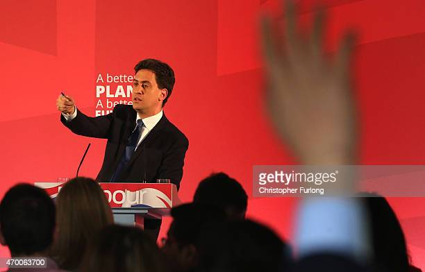 Labour Party leader Ed Miliband takes questions during the launch of the party's Manifesto for Young People at Bishop Grosseteste University on April...
