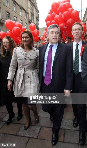 Labour Party Leader Gordon Brown, his wife, Sarah, and candidate Jim Murphy go for an election walkabout on Buchanan Street in Glasgow.