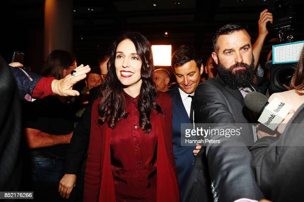 Labour Party leader Jacinda Ardern arrives at the Labour Party election party on September 23 2017 in Auckland New Zealand With results too close to...