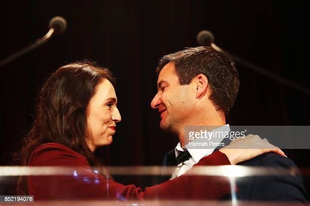Labour Party leader Jacinda Ardern hugs her partner Clarke Gayford at the Labour Party election party on September 23 2017 in Auckland New Zealand...