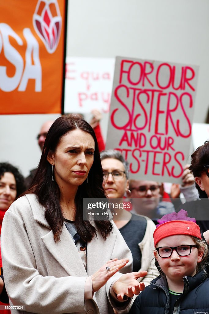 Labour Party leader Jacinda Ardern looks on during a rally for pay equity in New Zealand on August 12, 2017 in Auckland, New Zealand. Opposition MPs and members of the public are protesting against the government's Pay Equity Bill ahead of its anticipated first reading in parliament on Tuesday.
