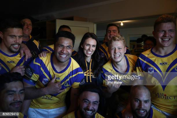 Labour Party Leader Jacinda Ardern meets players from the Mt Albert Rugby League Premiere team following their match against Te Atatu on August 5...