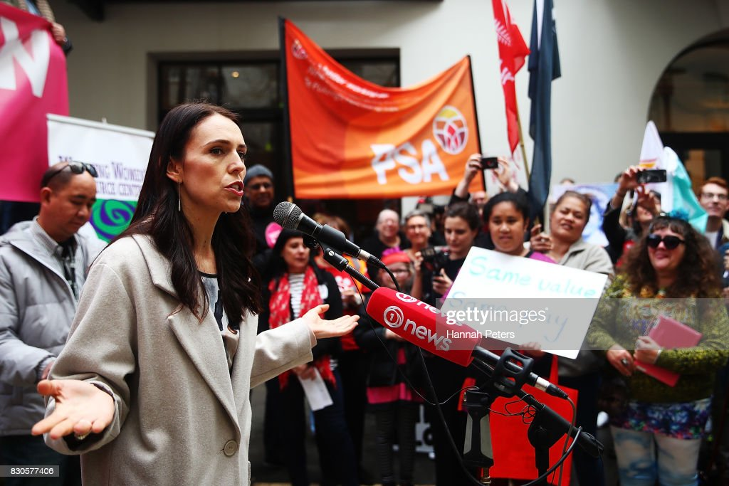 Labour Party leader Jacinda Ardern speaks during a rally for pay equity in New Zealand on August 12, 2017 in Auckland, New Zealand. Opposition MPs and members of the public are protesting against the government's Pay Equity Bill ahead of its anticipated first reading in parliament on Tuesday.