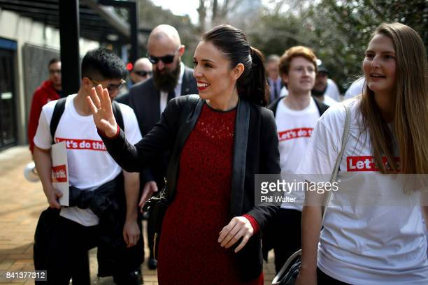 Labour Party leader Jacinda Ardern speaks to students in the Auckland University Quadrant on September 1 2017 in Auckland New Zealand The latest...