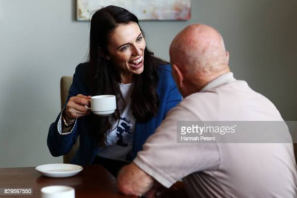 Labour Party leader Jacinda Ardern talks to residents at Selwyn Village retirement community on August 11 2017 in Auckland New Zealand New polling...