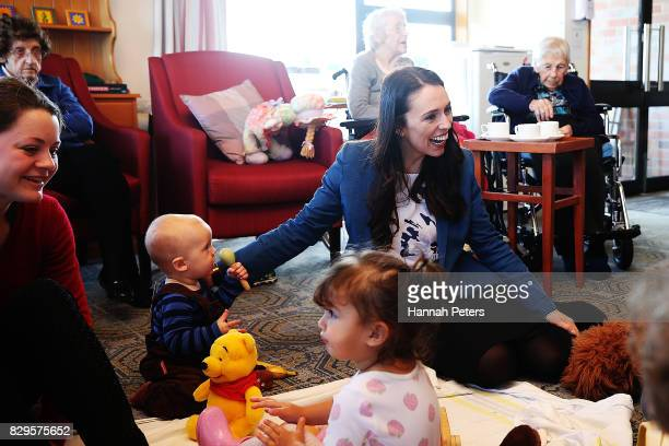 Labour Party leader Jacinda Ardern visits children at Selwyn Village retirement community on August 11 2017 in Auckland New Zealand New polling shows...