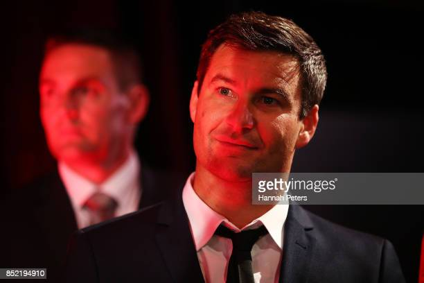 Labour Party leader Jacinda Ardern's partner Clarke Gayford looks on at the Labour Party election party on September 23 2017 in Auckland New Zealand...