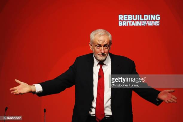 Labour Party leader Jeremy Corbyn acknowledges delegates following his keynote speech on day four of the Labour Party conference at the Arena and...