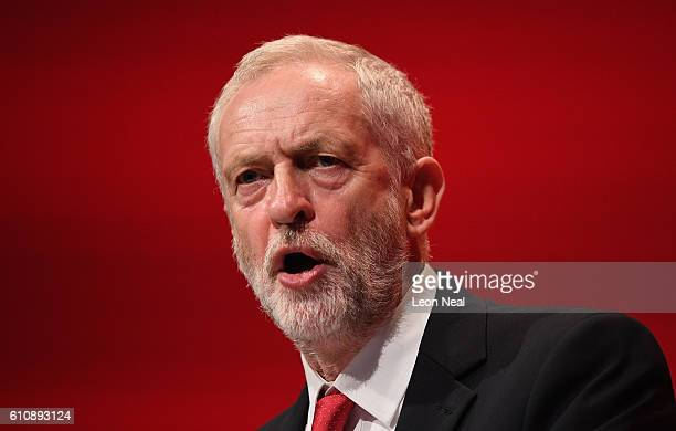 Labour party Leader Jeremy Corbyn addresses delegates and members during his keynote speech at the ACC on September 28 2016 in Liverpool England On...