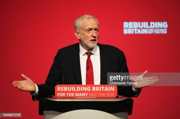 Labour Party leader Jeremy Corbyn addresses delegates on day four of the Labour Party conference at the Arena and Convention Centre on September 26...