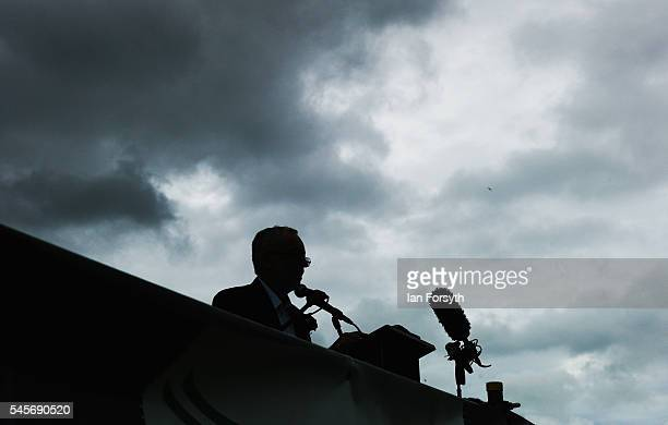 Labour Party leader Jeremy Corbyn addresses gathered crowds during the 132nd Durham Miners Gala on July 9 2016 in Durham England More than two...