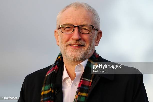 Labour Party leader Jeremy Corbyn addresses Labour activists in Whitby during a campaign rally on December 01 2019 in Whitby England Political...