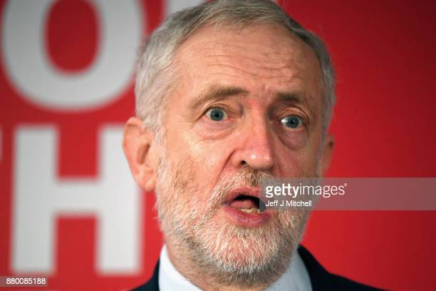 Labour Party leader Jeremy Corbyn addresses party activists at the Lighthouse on November 27 2017 in Glasgow Scotland The newly elected Scottish...