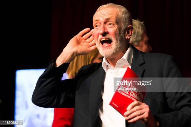Labour Party leader Jeremy Corbyn addresses the audience during a climate emergency rally on November 27, 2019 in Falmouth, England. Jeremy Corbyn...