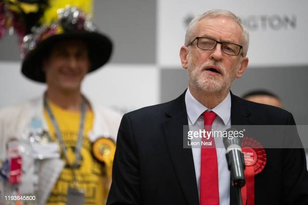 Labour Party leader Jeremy Corbyn addresses the media and supporters at Sobell leisure centre after retaining his parliamentary seat on December 13...