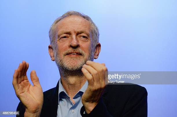 Labour party leader Jeremy Corbyn addresses the TUC Conference at The Brighton Centre on September 15 2015 in Brighton England It was Mr Corbyn's...