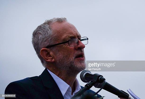 Labour Party leader Jeremy Corbyn addresses thousands of people during the 132nd Durham Miners Gala on July 9 2016 in Durham England More than two...