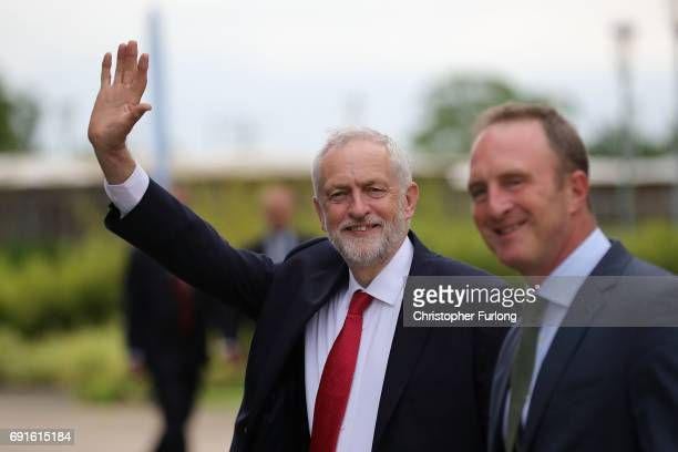 Labour Party Leader Jeremy Corbyn and Director of BBC News James Harding arrive at York University's Heslington Campus to appear on the BBC's...
