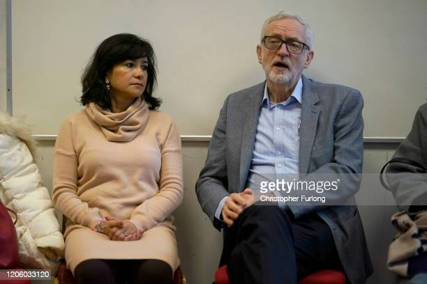 Labour party leader Jeremy Corbyn and his wife Laura Alvarez take part in a discussion with the Manchester Chinese community on the effects of the...