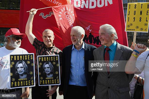 Labour Party leader Jeremy Corbyn and Labour MP Dennis Skinner stand with campaigners as members of the Orgreave Truth and Justice Group prepare to...