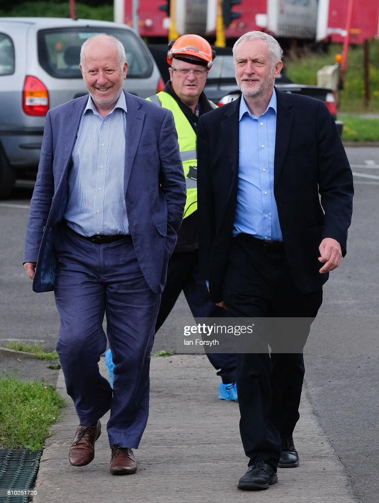 Labour Party leader Jeremy Corbyn (R) and Middlesbrough MP Andy McDonald visits the British Steel manufacturing site to tour the facility and meet staff on July 7, 2017 in Skinningrove, United Kingdom. The visit was part of a wider tour of the Middlesbrough South and East Cleveland constituency and comes as a recent YouGov survey, the first since the General Election last month, puts the Labour party ahead with 46 percent of the public backing Labour. The Middlesbrough South and East Cleveland constituency was won by Conservative Simon Clarke in the General Election after he beat Labour's Tracy Harvey.