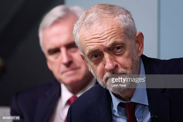 Labour Party leader Jeremy Corbyn and Shadow Chancellor John McDonnell take part in a QA following a keynote speech on the future of the economy held...