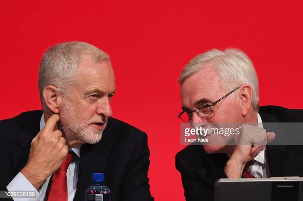 Labour Party leader Jeremy Corbyn and Shadow Chancellor of the Exchequer John McDonnell attend day two of the annual Labour Party conference at the...