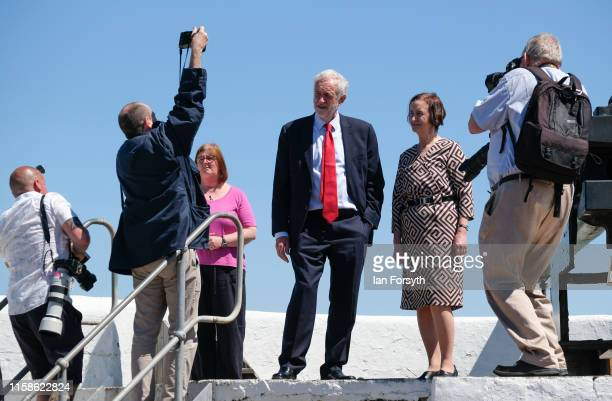 Labour Party Leader Jeremy Corbyn and Shadow Defence Secretary Nia Griffith pose for photographers as they meet military personnel at the Heugh...