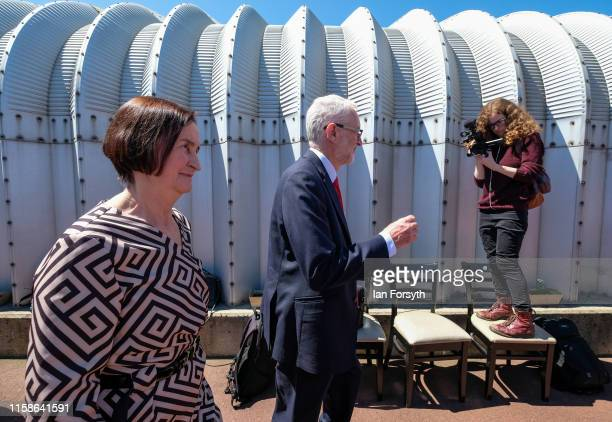 Labour Party Leader Jeremy Corbyn and Shadow Defence Secretary Nia Griffith tour the site as they meet former military personnel at the Heugh Battery...