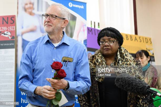 Labour Party leader Jeremy Corbyn and Shadow Home Secretary Diane Abbott visit Finsbury Park mosque on Visit Your Mosque Day on March 03 2019 in...