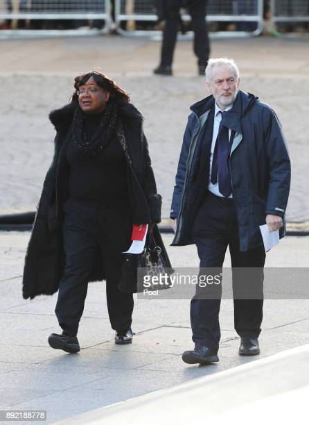 Labour Party leader Jeremy Corbyn and shadow home secretary Diane Abbott arrive at St Paul's cathedral for a Grenfell Tower National Memorial service...